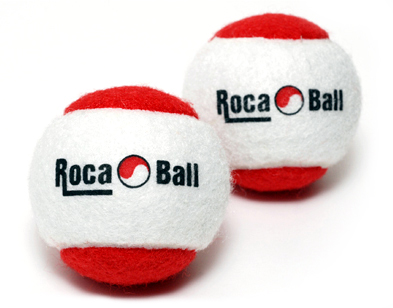 Two 1 lb Roca Balls - Red & White, Two one pound Roca Balls.   One pound balls are ideal for hand exercises such as ball rotations.  Perfect for smaller hands. They are great for juggling too.
