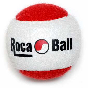 One 2 lb Roca Ball - Red & White, Two pound Roca Ball. Three inch diameter. Two pound balls are ideal for a full range of hand and arm exercises. They can be used individually or combined to increase the weight.  See exercises page for example exercises.
