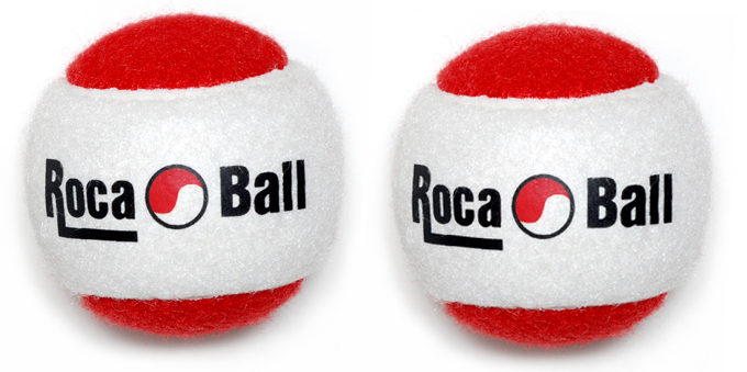 Two 2 lb Roca Balls - Red & White, Two, two pound Roca Balls. Three inch diameter. Two pound balls are ideal for a full range of hand and arm exercises. They can be used individually or combined to increase the weight. See exercises page for example exercises.