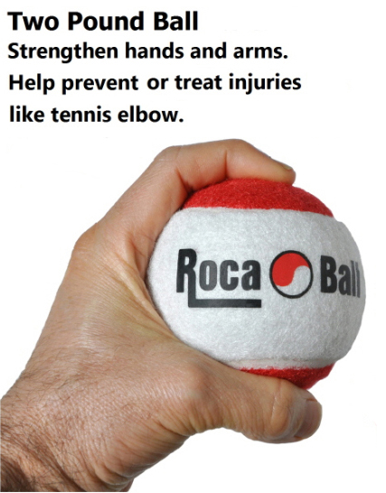 Two pound ball is ideal for exercise wrist flexes to strengthen and prevent injuries.